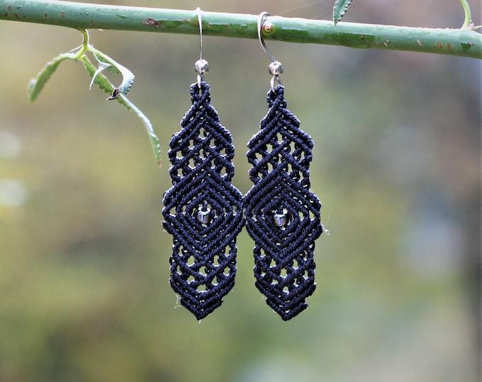 Tile/moucharabia long MIA PROVENCE micro-macrame earrings, hippie chic, Oriental