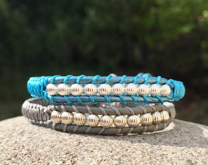 Bracelet homme et femme en cuir et perles rondes striées en argent 925 en couleur création originale MIA PROVENCE, cool chic, boho chic