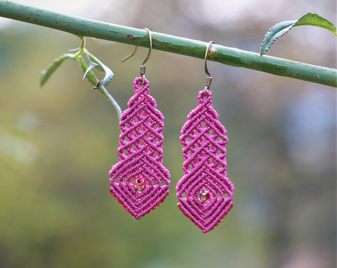 Short moucharabieh MIA PROVENCE micro-macrame earrings, hippie chic, Oriental