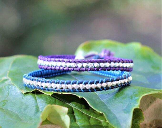 Bracelet pour homme en cuir et perles cubiques à facettes en argent 925 en couleur création originale MIA PROVENCE, cool chic, boho chic