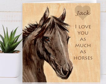 Horse Greeting Card Personalised Birthday For Her Him Lovers