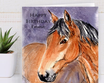 Horse Birthday Card Personalised Gift Art Greeting Pony Lovers Chestnut