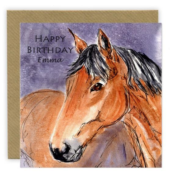 Horse Birthday Card Personalised Card Horse Gift Horse Art Etsy