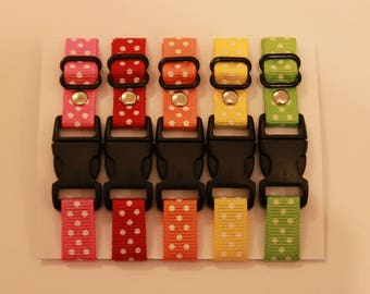 Set of 5 Adjustable Polka Dot Puppy ID Whelping Collars - Great for litters of newborn puppies