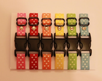 Set of 6 Adjustable Polka Dot Puppy ID Whelping Collars - Great for litters of newborn puppies