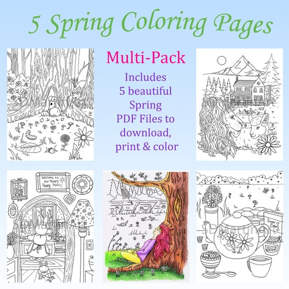 5 Pack Adult Coloring Book Pages Spring Coloring Pages Multi Pack Printable Coloring Pages Pretty Spring Season Coloring Sheets Whimsical