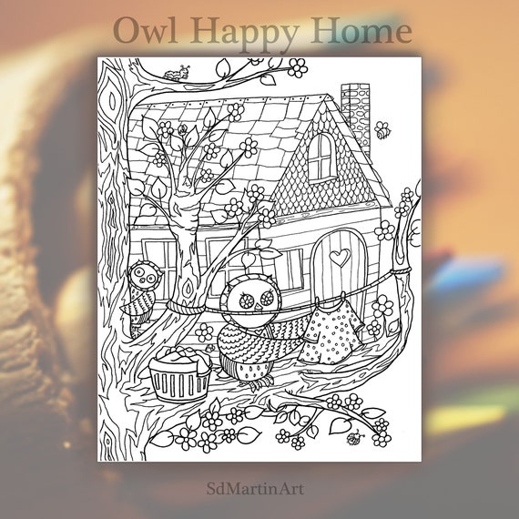 Tree House Coloring Page, Printable Coloring Pages, Adult Coloring ... | 570x570