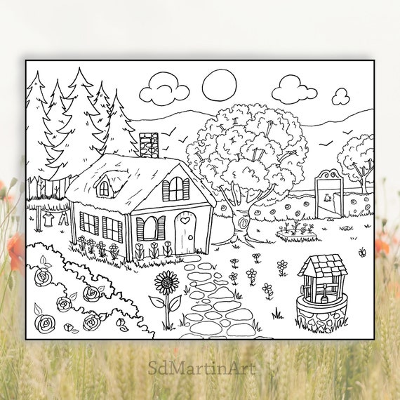 Cozy Cottage-Printable Coloring Page for Adults and Kids-Digital Download