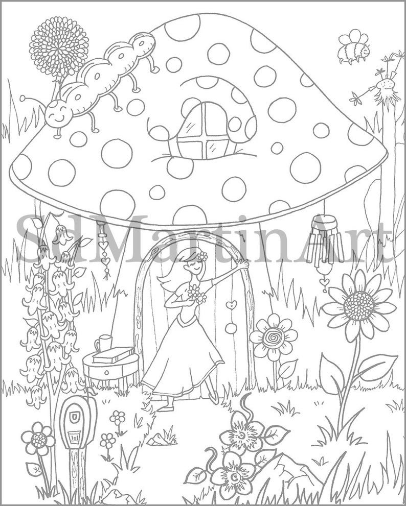Fairy Mushroom House-Printable Adult Coloring Book Page ...