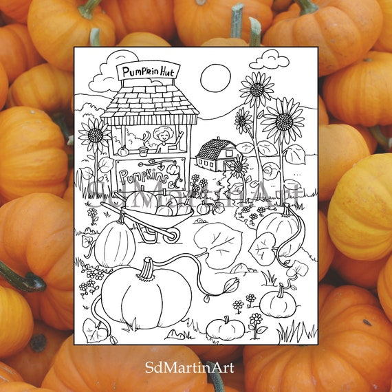 Pumpkin Patch-Fall Time Printable-Adult Coloring Book Page-For