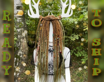 Forest set of natural look synthetic double ended dreads. READY TO SHIP custom dreadlocks and braids. Brown ombre to khaki green. 28 inches