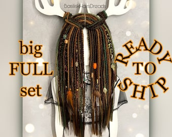 Brown big full set of natural look synthetic dreads and braids. 57 double ended DE. 28 inches. READY to SHIP