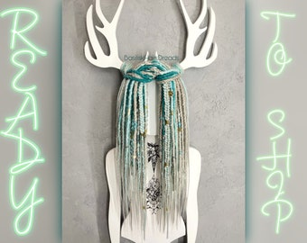 READY to SHIP. Full set, pastel dreads - mint blue-green and silver gray ombre. SE single ended. Dread beads, feathers, Braids