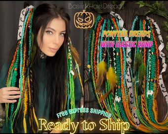 Halloween PONYTAIL dreads on elastic band. Ready to ship. FREE express shipping