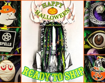 Halloween dreads. READY TO SHIP. Black, purple, yellow, green dreads. Braids, halloween beads. Witch synthetic dreadlock extensions. 28 inch
