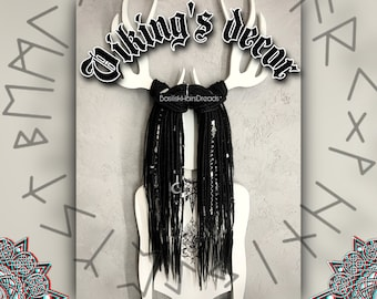 VIKING black synthetic dreads. Braids, silver beads. SE single or DE Double ended. Norse and witch decor