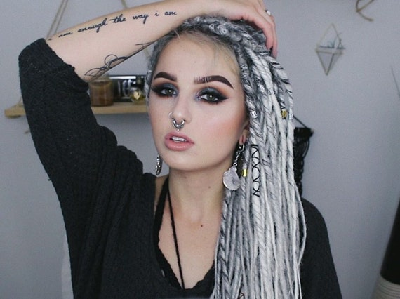 Gray Dreads Ombre Synthetic Dreadlocks Extensions Single Ended Se Or Double Ended De Synthetic Dreads Ombre Black To White And Grey