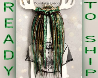 Brown, burgundy, green, blonde set of natural look synthetic dreads and braids. 32 double ended DE. READY to SHIP