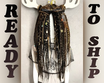 Brown natural look synthetic double ended crochet dreads and braids. Accent custom ombre dreadlocks extensions. Black brown blonde