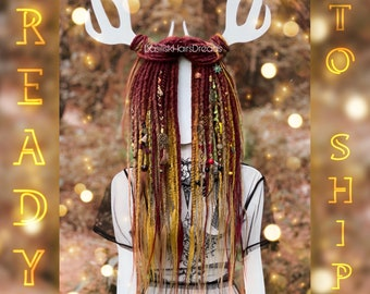 Autumn decorated set natural look synthetic single ended crochet dreads. Accent custom dreadlocks extensions. Burgundy orange yellow blonde