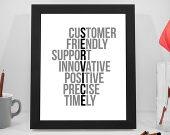 Service Printable Quotes, Customer Motivational Prints, Innovative Poster, Office Gifts, Office Decor, Office Art, Office Wall Decor