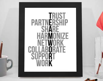 Team Work Motivational Quotes,  Teamwork Print, Trust Inspirational Saying, Share Printable, Office Decor, Office Art, Office Wall Art