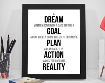 Dream Quotes, Goal Quotes, Motivational Sayings, Plan Print, Goal Prints, Action Poster, Reality Art Decor, Inspirational Quotes