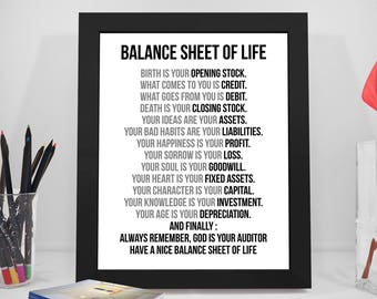 wall art for office. Balance Sheet Of Life, Birth Is Your Opening Stock, Business Quote, Life Auditor Gift, Office Wall Art, Accountant Gift Art For R