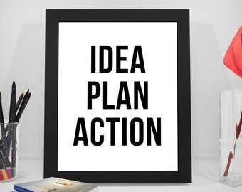 Idea Plan Action, Office Decor Idea, Office Decor For Him, Office Decor For Her,