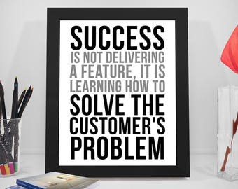 Customer Service Quotes, Customer Service Poster, Solving Customer Problem Quotes, Success Quotes, Success Poster, Office Decor, Office Art