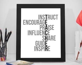 Teacher Quote Printable, Teacher Quotes, Encourage Quote, Praise Quote, Share Quotes, Guide Quotes, Inspire Quotes, Influence, Teacher