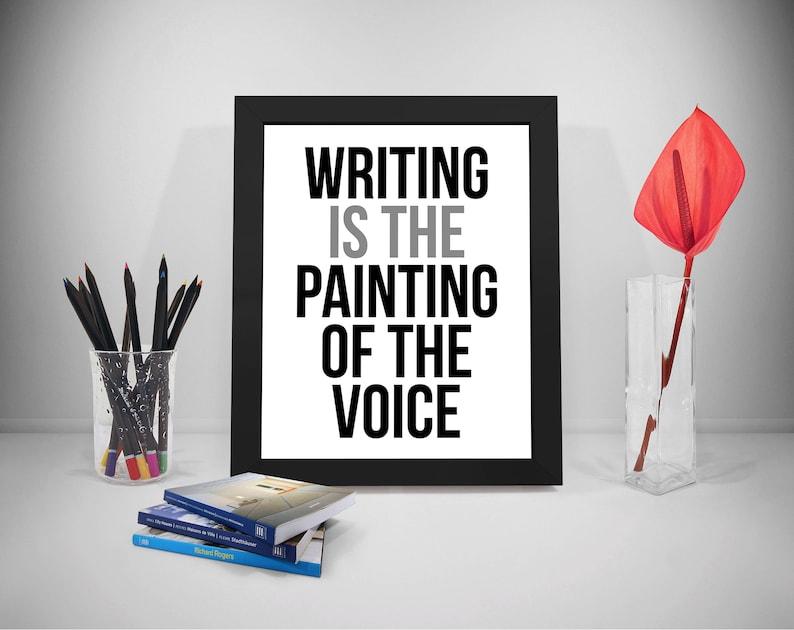 Citaten Schrijven : Schrijven is het schilderen van de stem poster citaat van de etsy