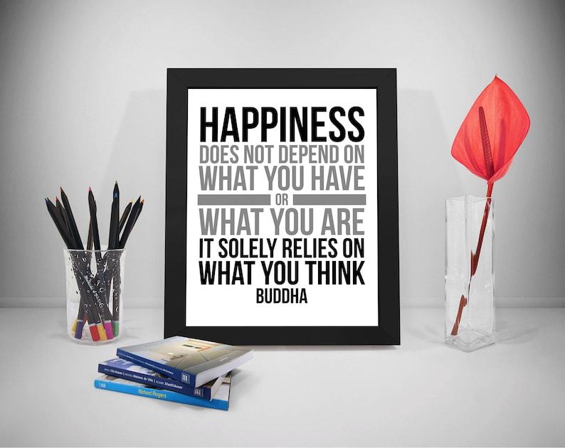Citaten Filosofen Geluk : Geluk hangt niet af op wat je hebt kunst aan de muur boeddha etsy