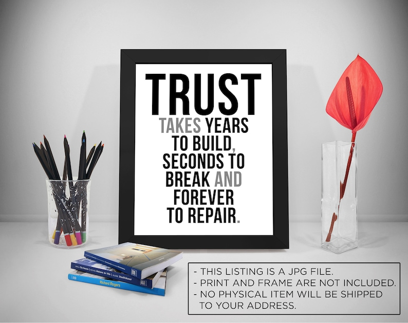 Trust Take Years To Build Trust Quote Printable Honesty Etsy