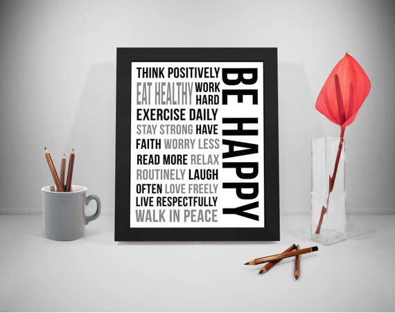 Be Happy Quote, Be Happy Sign, Happiness Quote, Eat Healthy Quotes,  Inspirational Quotes, Home Decor, Happy Thoughts Quotes