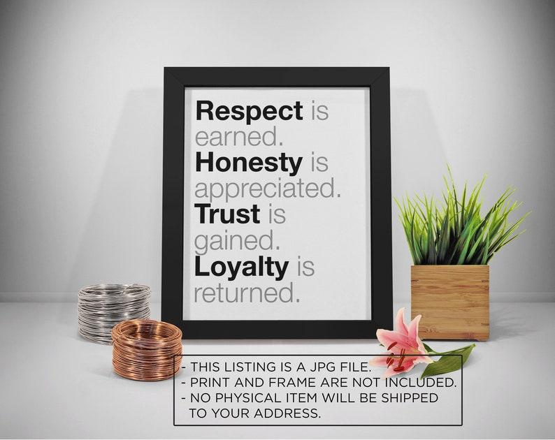 Citaten Respect : Respect is verdiend afdrukbare respect eerlijkheid quotes etsy