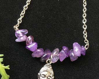 Amethyst Silver Plated Buddha Necklace