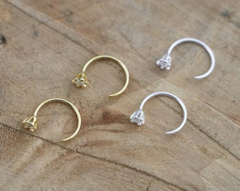 d3b04f9b0 Sterling Silver Hug Hoops | Tiny Minimalist Hug Earrings | Shiny Hug Hoops  | Stone End Hoop Earrings | Silver 925 Hugger Ring | Open Hoops