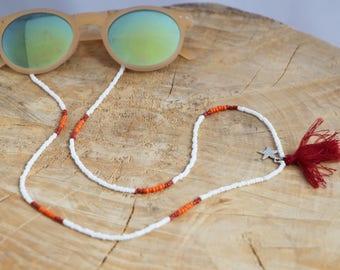 Beaded Sunglass Strap | White Sun Strap | Eyeglass Seed Bead Chain with Tassel | Sunglasses Lanyard | Beaded Eyeglass Cord | Sunnies Strap