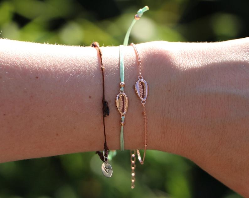 Rose Gold Cowrie Shell Satellite Bracelet Sterling Silver Sea Shell Bracelet Cowry Shell Bracelet Bead Chain Bracelet Shell Bracelet