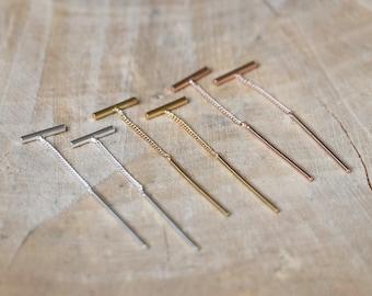 Threader Earrings   Bar Ear Thread Dangle Chain   Pull-through Earring   Sterling Silver 925   Chain Threader   Staple Ear Chain Wire Thread