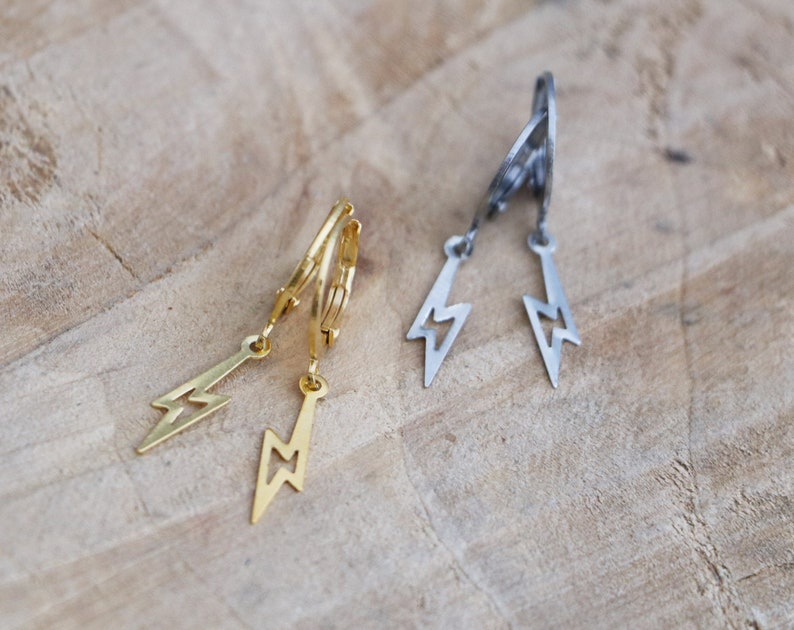 f00ebf9b0 Lightning Bolt Hoops Lightning Hoop Earrings Minimal | Etsy