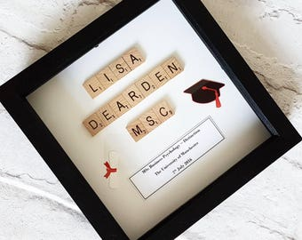 Personalised Graduation Frame ~ Scrabble Box Frame ~ Gifts for her ~ Gifts for him ~ Degree ~ Graduation ~ Personalised Gift ~ Keepsake