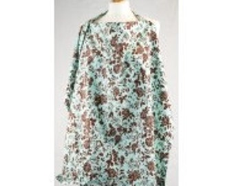 Palm and Pond Breast Feeding Cover - Extra Large - Turquoise Floral