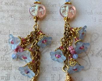 Lucite Flower Earrings - Moon Earrings - Full Moon Earrings - Cascade Earrings - Gold Chain Earrings - Moon Face Earrings - Blue Flower
