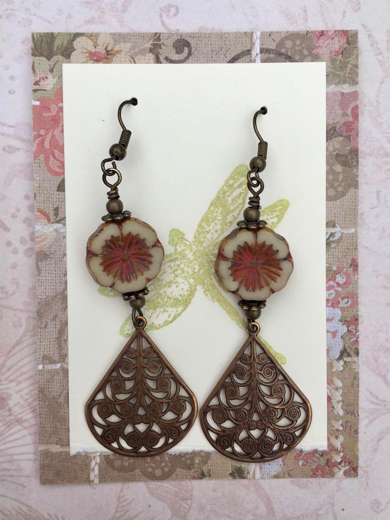 Flower Earrings Vintage Style Accessories Neutral Jewelry Boho Antique Brass Vintaj Teardrops Czech Glass Flower Beads Rustic Jewelry