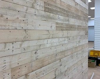 50 Sq M - Sanded Reclaimed Rustic Pallet Wood Wall Cladding - Wood Wall Cladding , Dry, Denailed, Ready to Fit Boards + Planks