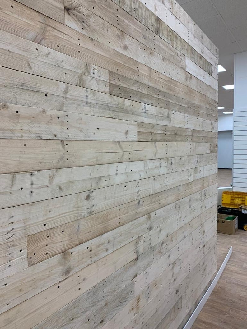 1 Sq M  SANDED Reclaimed Rustic Pallet Wood Wall Cladding  image 1