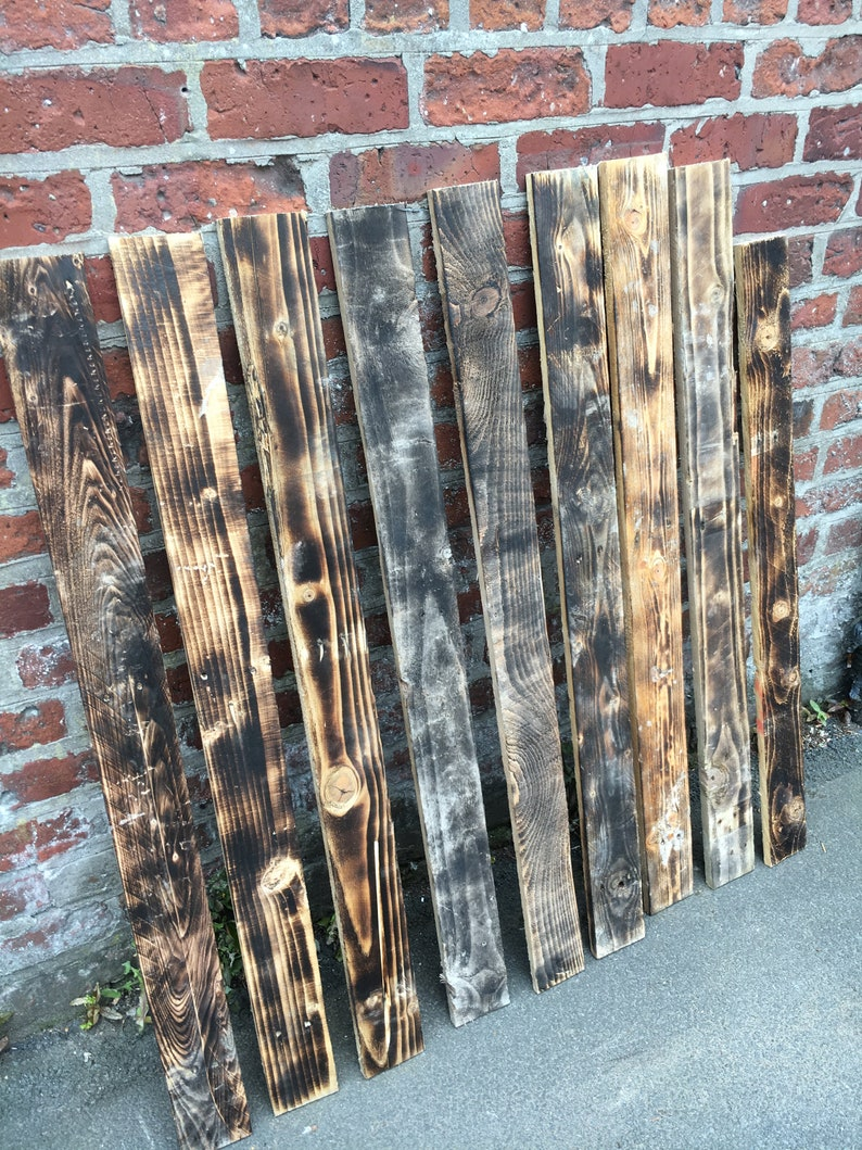 10 Sq M  Scorched / Burnt  Pallet Wood Wall Cladding  image 1