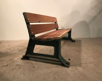 Bench - Industrial - Hardwood and Train Station Cast Iron Ends